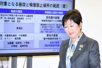 条例は五輪のある20年に向け段階的に施行する(記者会見する小池百合子知事、4月20日・都庁)