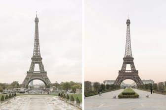 左がパリのエッフェル塔、右が中国の天都城にあるレプリカ。米国ラスベガスのホテルにあるレプリカに次いで世界で2番目に大きい(PHOTOGRAPH BY FRANCOIS PROST)