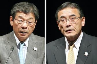 日経2020フォーラムで講演したJXTGエネルギーの杉森務社長(左)と富士通の山本正已会長