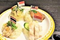 東南アジアのチキンライスは各国似て非なるもの 右上から時計回りにマレーシア、シンガポール、タイ、インドネシア