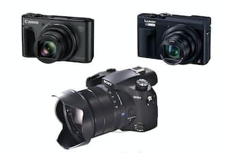 高倍率ズームデジカメ3機種。キヤノンのPowerShot SX730 HS(左上)、パナソニックのDC-TZ90(右上)、ソニーDSC-RX10M4(下)