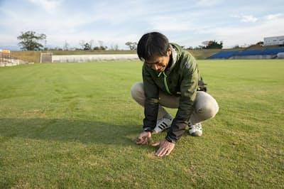 ガイナーレ鳥取はスタジアムの芝の生産・管理ノウハウを生かし、耕作放棄地の再生に取り組んでいる(鳥取県米子市のチュウブYAJINスタジアム)=ガイナーレ鳥取提供