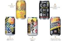 今回、パッケージデザインを評価したストロング系缶チューハイ5本