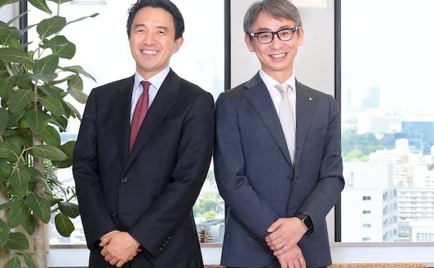 古河建規会長(左)と長島聡社長