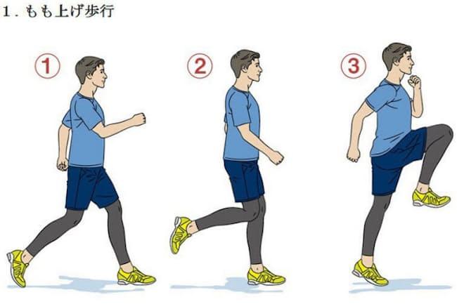 走る前のドリルで、正しいフォームを体に覚えさせよう。(イラスト:内山弘隆)