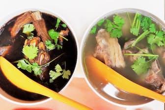 「シンガポール コピティアム」(東京・中央)では黒白2種類のバクテーが味わえる