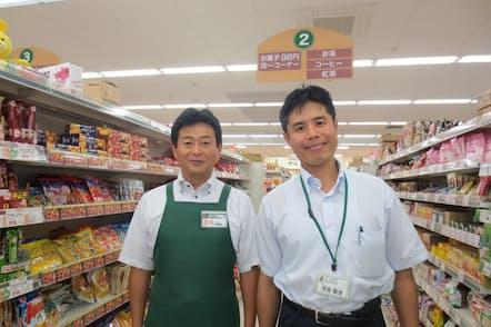 河合岳史社長(右)は、従業員と会社の未来を考えて日曜休みのスーパーを構築した