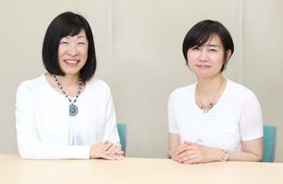 NPO法人GEWELアドバイザリーボード主席のアキレス美知子さん(左)と社会学者の水無田気流さん