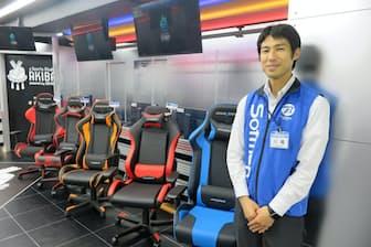 イベントで利用しない時はゲーム用の椅子などを展示している