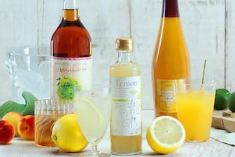 (右から)3位 飲むシークヮーサー&八朔(ハッサク)酢、1位 のむ檸檬(レモン)酢、2位 梅ごこち