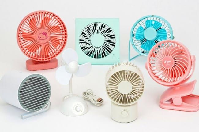 USB扇風機にもいろいろある。風量、騒音、サイズ、電源の方式などそれぞれ異なるので、自分の使い方に合うものを選ぼう