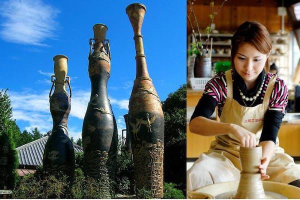 (左)1796年に開窯した「製陶ふくだ」の敷地内にある高さ10.7メートルの巨大花瓶。(右)手ひねりや本格的なろくろを使った陶芸体験がいろいろな所でできる(写真:笠間観光協会)