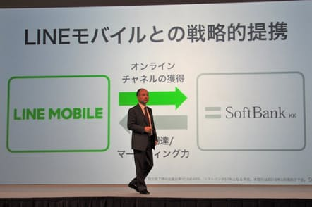 2018年3月にLINEモバイルとの資本・業務提携を結んだことを発表する孫正義ソフトバンク会長