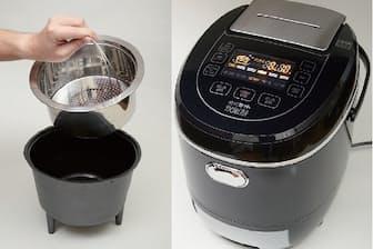 「糖質カット炊飯器 (サンコー)」2層の釜で、糖質が含まれる重湯を排出する仕組み。実勢価格は、税込み2万9800円