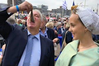 ハーグ周辺では尾をつまんで丸ごとハーリングを食べる(スヘベニンゲンの祭り「旗の日」で)