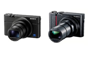 左が24-200mmのズームレンズを搭載する「RX100M6」、ソニーストアでの価格は税別13万8880円。右が光学15倍ライカDCレンズを搭載する「LUMIX TX2」、パナソニックストアでの価格は税別11万6800円