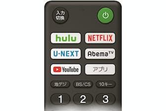 最近のテレビのリモコンには映像配信を呼び出すボタンがついている(ソニー製品のリモコン)