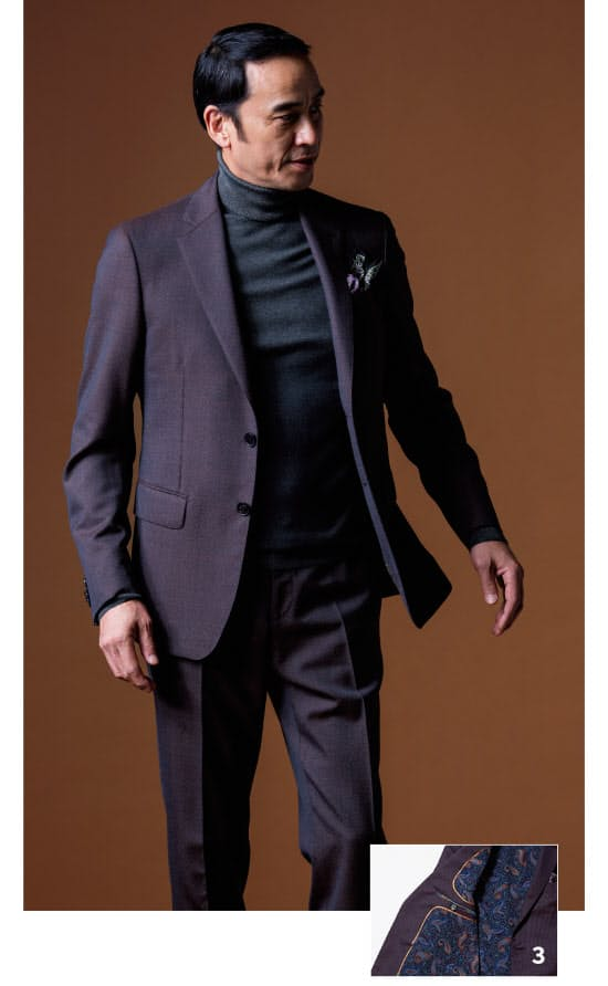 07f1f22685 ニット6万9000円、チーフ1万6000円/以上エトロ(エトロ ジャパン) 3.  胴裏には、エキゾチックなペイズリー柄のシルク地を用いている。端正な仕立てのスーツ ...