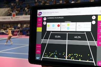 SAPの協力のもと、テニスの大会ではプレーデータの活用が進んでいる(写真はタブレット端末の画面、東京都立川市)