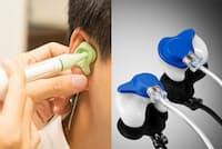 一人ひとりの耳の形に合わせたオーダーメードイヤホンを作ってみた。写真左は型を取るために耳の穴にシリコン印象材を流し込んでいるところ。右が完成したイヤホン