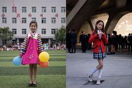 左は子供の日のイベントでダンスを披露したキム・ソン・ジョンちゃん(9歳)。北朝鮮の平壌で撮影。右は東大門デザインプラザでダンスを披露したユン・ヘリムちゃん(10歳)。韓国で開催されたソウルファッションウィークにて(PHOTOGRAPH BY ED JONES, GETTY IMAGES)