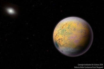まだ存在が確認されていない第9惑星の想像図。新たに発見された2015 TG387を含む小さな天体の軌道に影響を与えていると想定されている(ILLUSTRATION BY CARNEGIE INSTITUTION FOR SCIENCE, DTM, ROBERTO MOLAR CANDANOSA/SCOTT SHEPPARD)