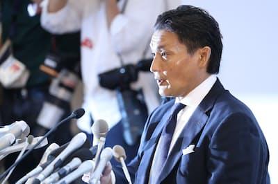 日本相撲協会に退職届を提出し記者会見した貴乃花親方(当時)