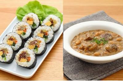 無印良品が発売した冷凍食品(写真左が「キンパ(韓国風のりまき)」、右が「カスレ(フランス風牛肉と豆の煮込み)」