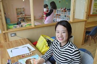 保育所付きシェアオフィスを利用しているおおもりさん(東京都多摩市のコワーキングCoCoプレイス)