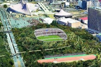 新スタジアムは代々木公園に計画している(渋谷区の外郭団体が作成したイメージ図、(C)Atelier Tsuyoshi Tane Architects)
