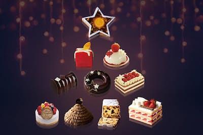 どれも人気アイテムだけに早めの予約がベター! リュクスなクリスマスケーキで聖夜を盛り上げたい。(NikkeiLUXEより)