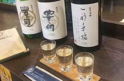石井酒造の酒は種類によって味わいが大きく異なる(東京都文京区、名酒センター御茶ノ水店)