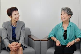 対談する石倉洋子氏(左)と尾原蓉子氏
