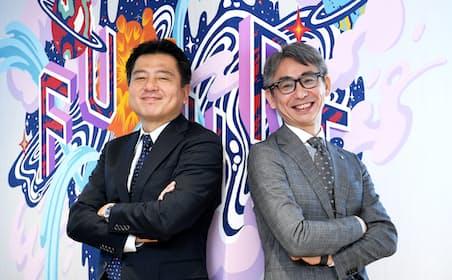 羽田雅一常務(左)と長島聡社長