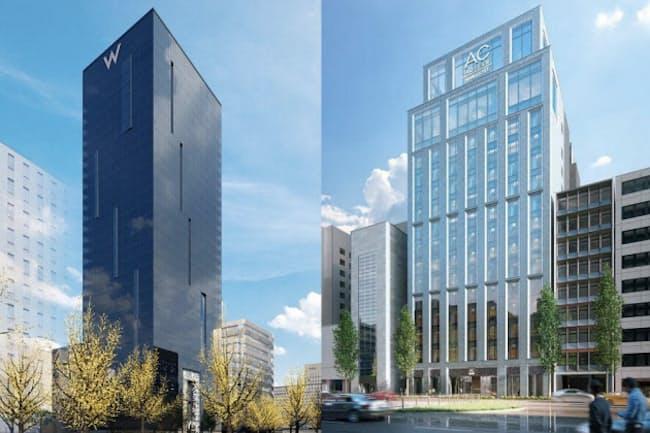 外資系ホテルでは国内最大勢力のマリオット。「エディション(下写真)」「ACホテル(上の写真右)」など、次々と日本に上陸させる予定だ。21年に大阪の中心部にオープンする「W(上の写真左)」は若者向けのデザイナーズホテル