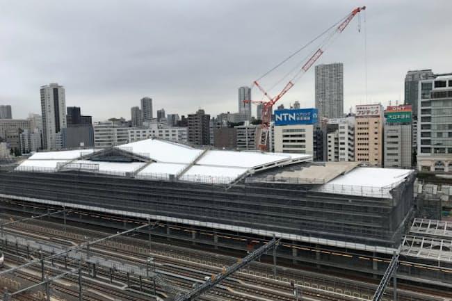 建設中の高輪ゲートウェイ駅(8月、東京都港区)