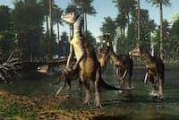 現在のオーストラリアにある浅い湖を、ウィーワラサウルスの群れが渡る(ILLUSTRATION BY JAMES KUETHER)