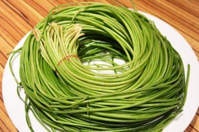針金のようにぐるぐると巻かれた台湾青菜のニューフェース、水連菜