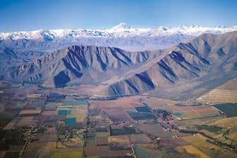 チリのワイン産地の一つ、アコンカグア・ヴァレー。後方にそびえるのはアンデス山脈