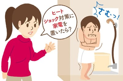 寒い脱衣室で衣服を脱ぐとヒートショックが発生する危険があるという。それを防ぐのに役立つのがスポット暖房だ