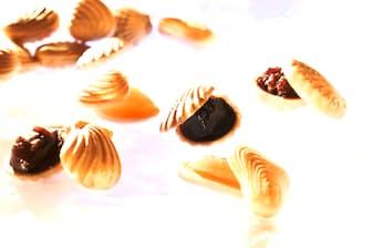 貝殻をかたどった5つの最中種に5種類のあん