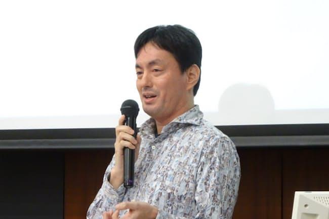早稲田大学の起業家養成講座で講演するメルカリの山田進太郎会長兼CEO(2018年12月21日)