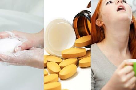 結局、風邪を予防するには何をするのが最も効果的なのだろうか?写真はイメージ=左から(c)mitarart-123RF、(c)vanatchanan-123RF、(c)Iakov Filimonov-123RF