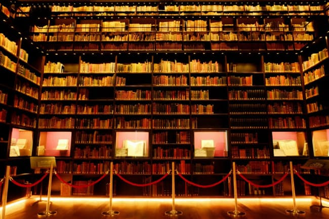 壁面を埋め尽くす蔵書に圧倒される。東洋文庫内のモリソン書庫