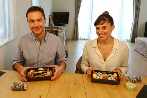 鎌倉で外国人向けに弁当料理を教える「M&M Bento Cooking」にパリから参加したカップル