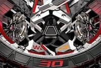 エクスカリバー ワンオフは、スーパーカーのモードセレクターのような機能を設け、ウオッチの設定をW(巻き上げ)またはS(時刻設定)から選ぶ