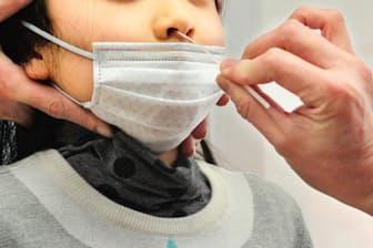 インフルエンザの検査風景