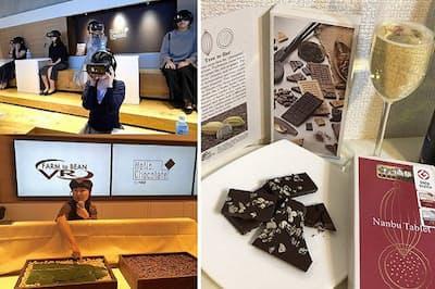 今年はプレミアムなチョコ体験を楽しんでみる。明治のVR体験(左)と世界大会の受賞チョコレート