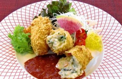 しゃんしゃん龍のコロッケには米粉のクリームに11種類の野菜が入っている