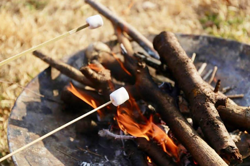 アウトドアシーンでたき火やバーベキューとともに楽しむ焼きマシュマロ